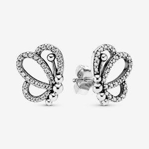 PANDORA Sparkling Openwork Butterfly Stud Earrings